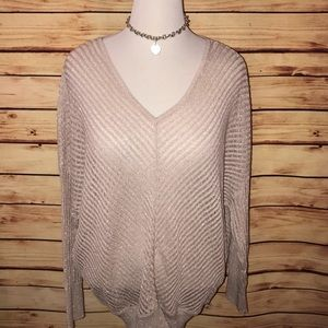 Jennifer Lopez Blush Shimmer V Neck Sweater